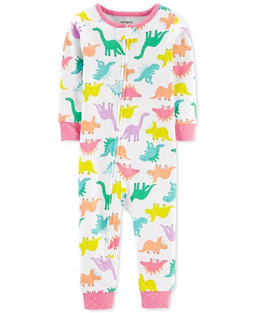 Carter's Baby Girls 1-Pc. Dinosaur-Print Cotton Pajamas