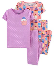 Little & Big Girls 4-Pc. Cupcake Cotton Pajamas Set