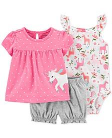 Baby Girls 3-Pc. Cotton Unicorn T-Shirt, Bodysuit & Shorts Set