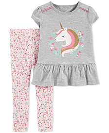 Baby Girls 2-Pc. Unicorn Top & Floral-Print Leggings Set