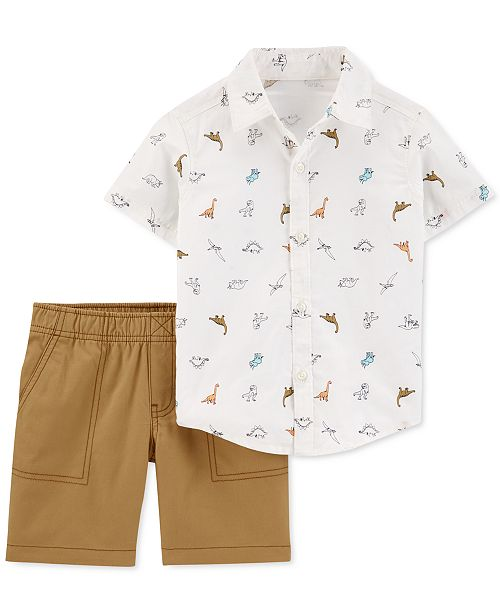 Carter's Toddler Boys 2-Pc. Cotton Dinosaur Shirt & Canvas Shorts Set