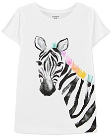 Little & Big Girls Zebra-Print Split-Sleeve Cotton T-Shirt