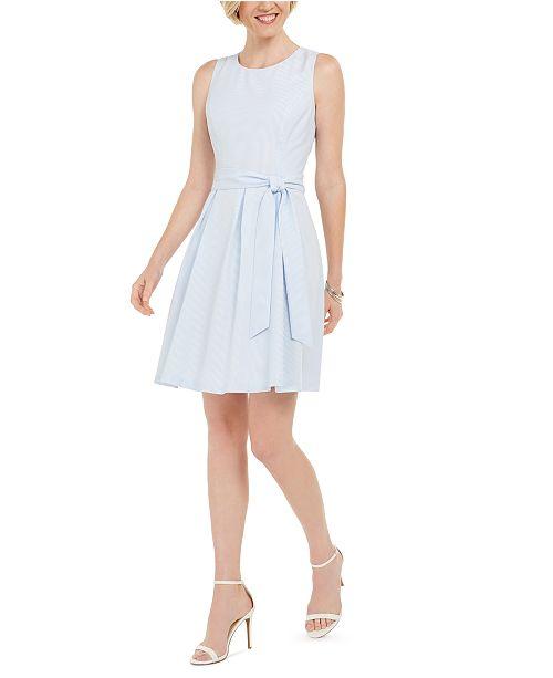 Pappagallo Sleeveless Belted Seersucker Dress