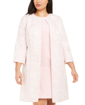 1950s Jackets, Coats, Bolero | Swing, Pin Up, Rockabilly Kasper Plus Size 34-Sleeve Marble Floral Topper Jacket $44.99 AT vintagedancer.com