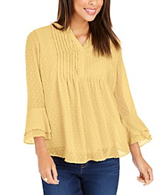 Double-Ruffle Textured Pintuck Top, In Regular and Petite, Created for Macy's