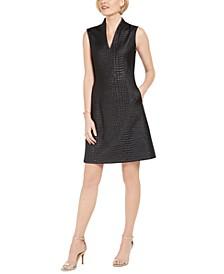 Croc-Embossed Jacquard A-Line Dress