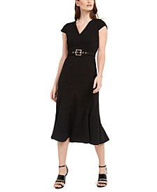 Belted Cap-Sleeve A-Line Dress
