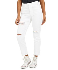 Juniors' Ripped Ankle Slim-Leg Jeans