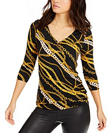 Chain-Print Metallic-V-Neck Top, Created For Macy's