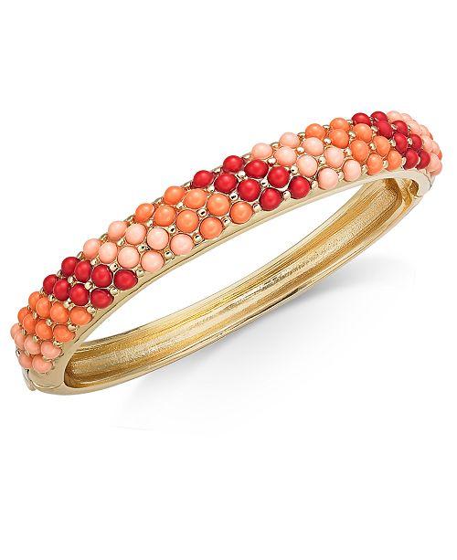 Charter Club Gold-Tone Multicolor Imitation Pearl Bangle Bracelet, Created for Macy's