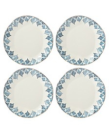 Blue Bay Dinner Plate Set/4  Ikat