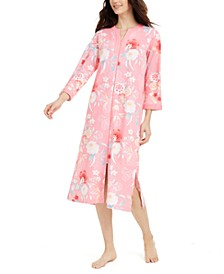Floral-Print Zipper Robe