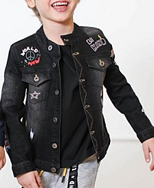 Toddler and Little Boys Black Denim Jacket