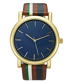INC Men's Striped Strap Watch 44mm, Created for Macy's