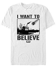 Men's I Want to Believe Falling Meteor Poster Short Sleeve T- shirt