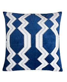 Vivian Applique Velvet Square Decorative Throw Pillow
