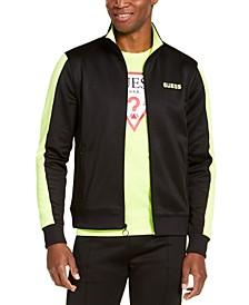 Men's Athletic-Fit Fleece Block Patch Track Jacket