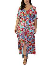 Plus Size Floral-Print Peasant Maxi Dress