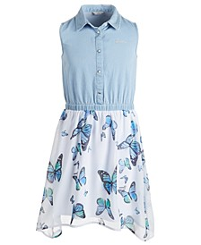 Big Girls Denim & Butterfly Dress