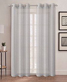 "Au Natural 38"" x 84"" Canvas Mesh Semi-Sheer Curtain Set"