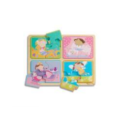 Melissa Doug Natural Play Wooden Puzzle: Little Princesses Four 4-Piece Princess Puzzles
