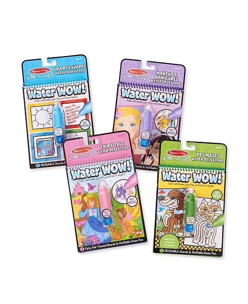 Melissa and Doug Melissa Doug Water Wow 4 Pack Pets, Colors, Fairy Tale and Makeup