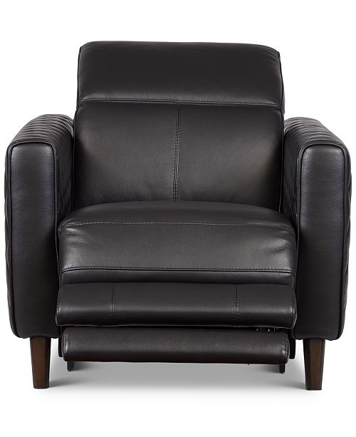 Jaconna 34 Leather Dual Power Recliner, Created for Macy's