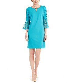 Burnout-Bell-Sleeve Keyhole Dress, Created for Macy's