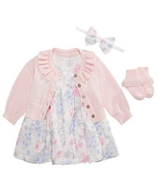 Baby Girls Headbands, Ruffle Cardigan, Floral Dress & Socks, Created for Macy's