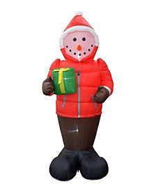 8' Inflatable Snowman in A Down Jacket