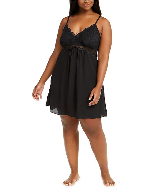 INC International Concepts INC Plus Size Lace Chiffon Chemise Nightgown, Created For Macy's