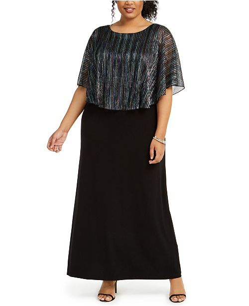 Connected Plus Size Metallic-Stripe Capelet Gown