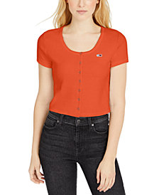 Tommy Jeans Rib-Knit Snap-Front Crop Top