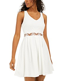Juniors' Lace-Waist A-Line Dress