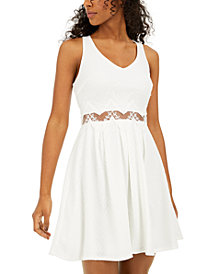 Sequin Hearts Juniors' Lace-Waist A-Line Dress