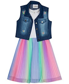 Big Girls 2-Pc. Denim Vest & Multicolored Dress Set