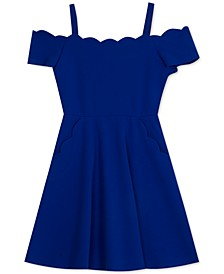Big Girls Scalloped Scuba Skater Dress