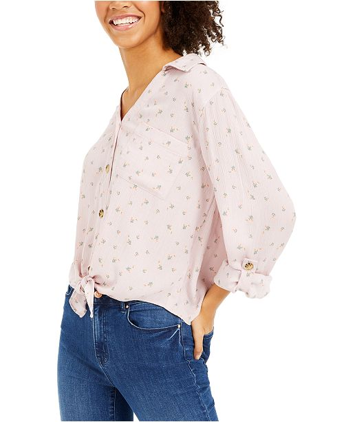 Hippie Rose Juniors' Tie-Front Shirt