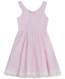 Big Girls Bow-Back Seersucker Dress