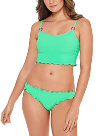 Juniors' Pucker Up Bikini Top & Ruffled Bottoms, Created for Macy's