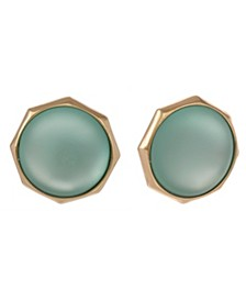 Gold Tone Teal Button Clip Earrings