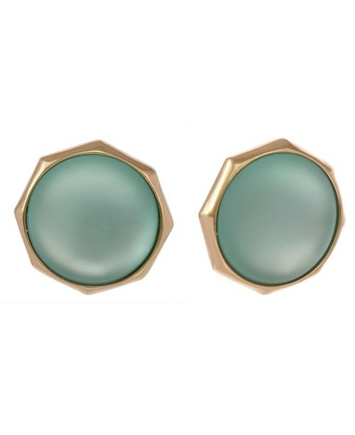 Christian Siriano New York Gold Tone Teal Button Clip Earrings