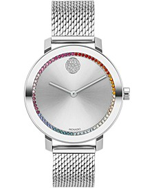 Women's Swiss Bold Stainless Steel Mesh Bracelet Watch 34mm