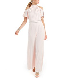 Cold-Shoulder Rhinestone-Trim Jumpsuit
