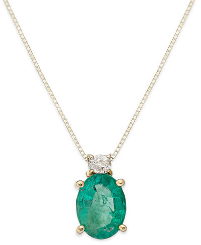 14k Gold Necklace, Emerald (1-1/10 ct. t.w.) and Diamond Accent Oval Pendant