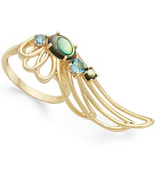 Simone I. Smith 18K Gold over Sterling Silver Ring, Abalone and Blue Crystal Angel Wing Ring