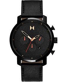 Men's Chronograph Caviar Black Leather Strap Watch 45mm
