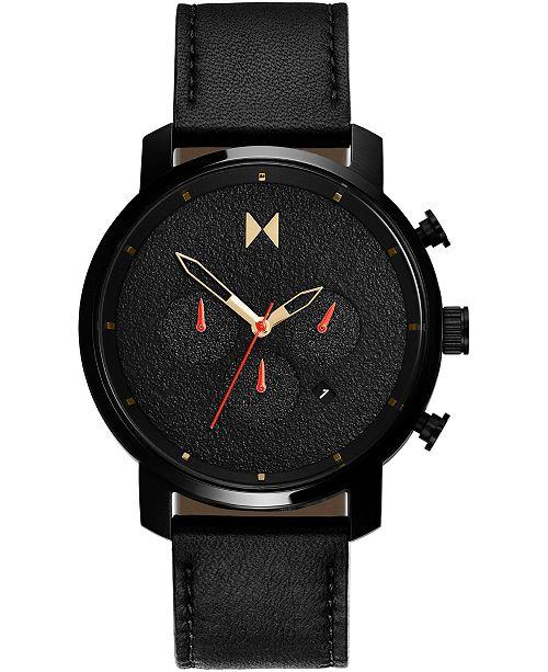 MVMT Men's Chronograph Caviar Black Leather Strap Watch 45mm