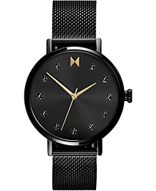 Women's Caviar Black Stainless Steel Mesh Bracelet Watch 36mm