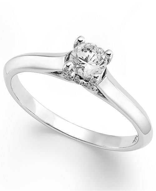 Macy's X3 Certified Diamond Solitaire Engagement Ring in 18k White Gold (1/3 ct. t.w.), Created for